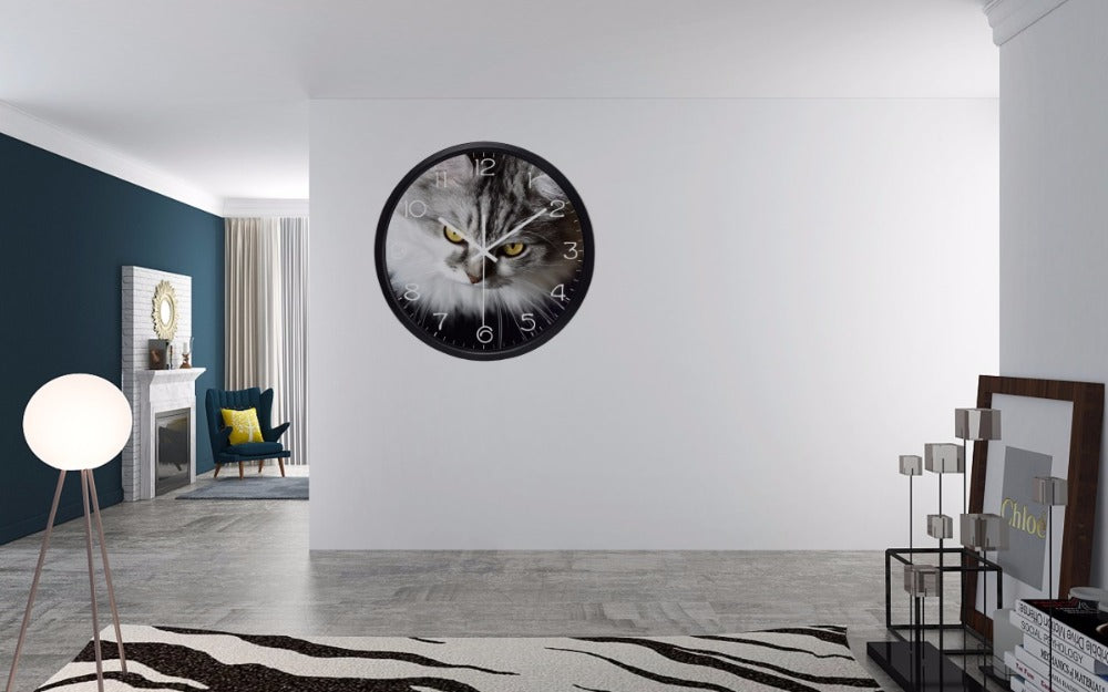 Cat Gazing High Definition Print Black Frame Quartz Wall Clock