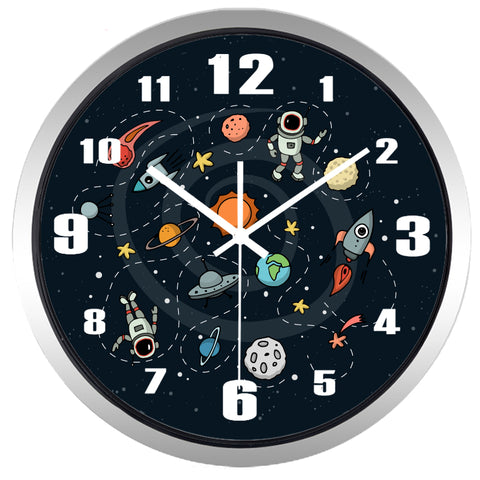 Cartoon Space Pilot High Definition Print Silver Frame Quartz Wall Clock