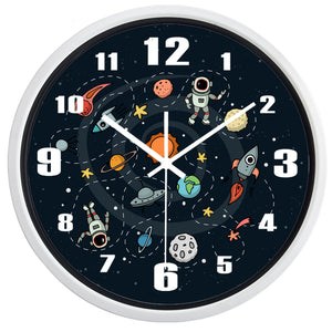 Cartoon Space Pilot High Definition Print White Frame Quartz Wall Clock
