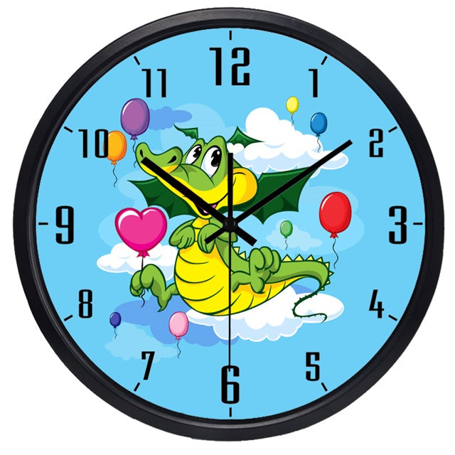 Cartoon Dragon High Definition Print Black Frame Quartz Wall Clock