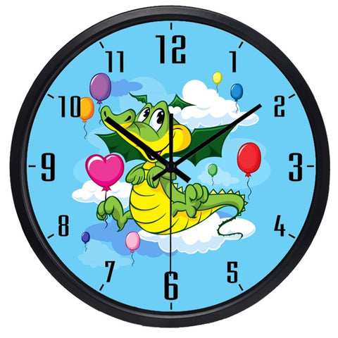 Image of Cartoon Dragon High Definition Print Black Frame Quartz Wall Clock