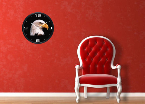 Image of Eagle Head High Definition Print Black Frame Quartz Wall Clock