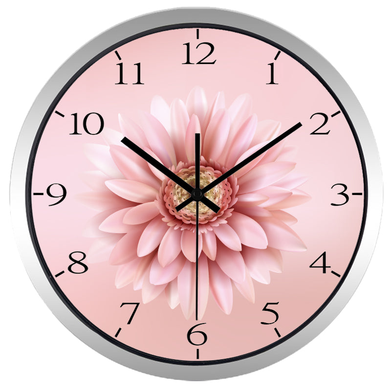 Beautiful Pink Chrysanthemum High Definition Print Silver Frame Quartz Wall Clock