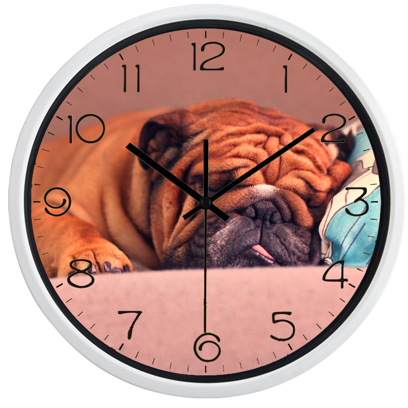 SharPei Dog Sleeping High Definition Print White Frame Quartz Wall Clock