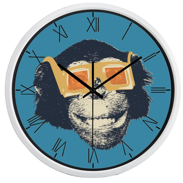 Movie Star Gorilla High Definition Print White Frame Quartz Wall Clock