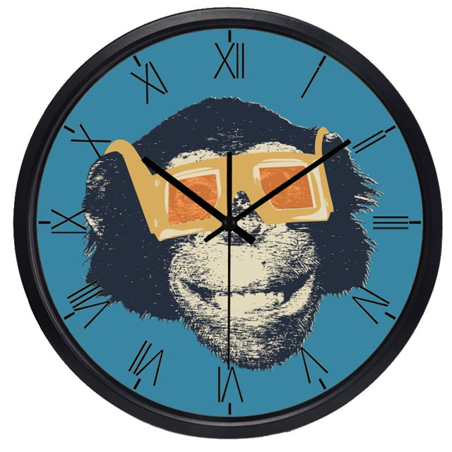 Movie Star Gorilla High Definition Print Black Frame Quartz Wall Clock