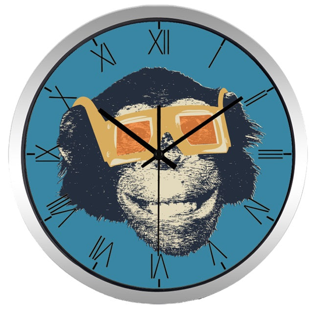 Movie Star Gorilla High Definition Print Silver Frame Quartz Wall Clock