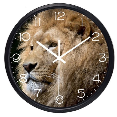Image of Lifelike Lion Head High Definition Print Black Frame Quartz Wall Clock