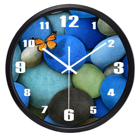 Image of Butterfly Cobblestone High Definition Print Black Frame Quartz Wall Clock