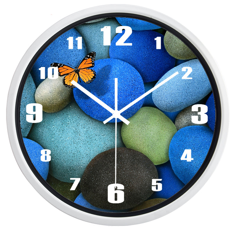 Butterfly Cobblestone High Definition Print White Frame Quartz Wall Clock