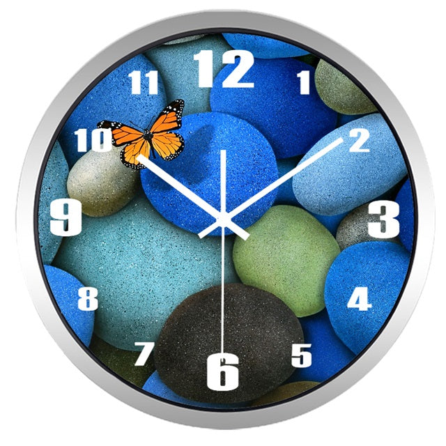 Butterfly Cobblestone High Definition Print Silver Frame Quartz Wall Clock