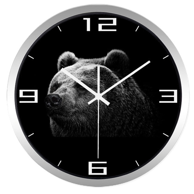 Black Bear High Definition Print Silver Frame Quartz Wall Clock