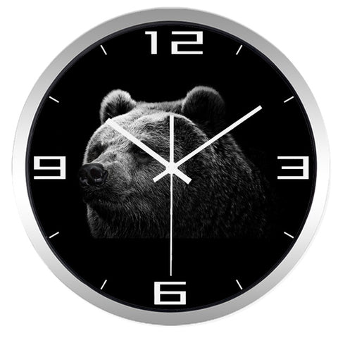 Image of Black Bear High Definition Print Silver Frame Quartz Wall Clock