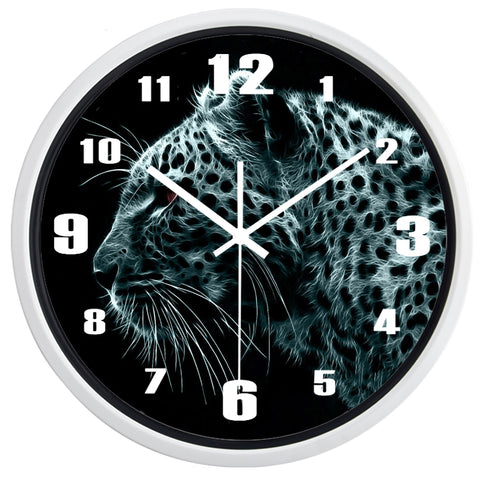 Image of Black Leopard High Definition Print White Frame Quartz Wall Clock
