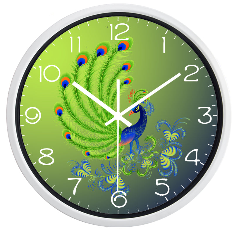 Delicate Peacock High Definition Print White Frame Quartz Wall Clock