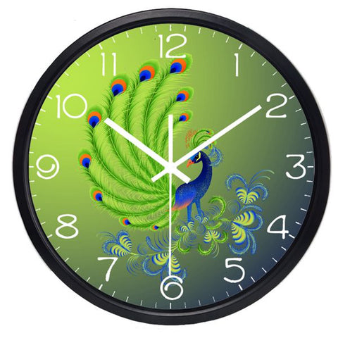 Image of Delicate Peacock High Definition Print Black Frame Quartz Wall Clock