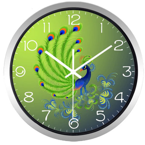 Image of Delicate Peacock High Definition Print Silver Frame Quartz Wall Clock