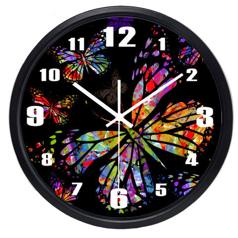 Image of Colorful Butterfly High Definition Print Black Frame Quartz Wall Clock
