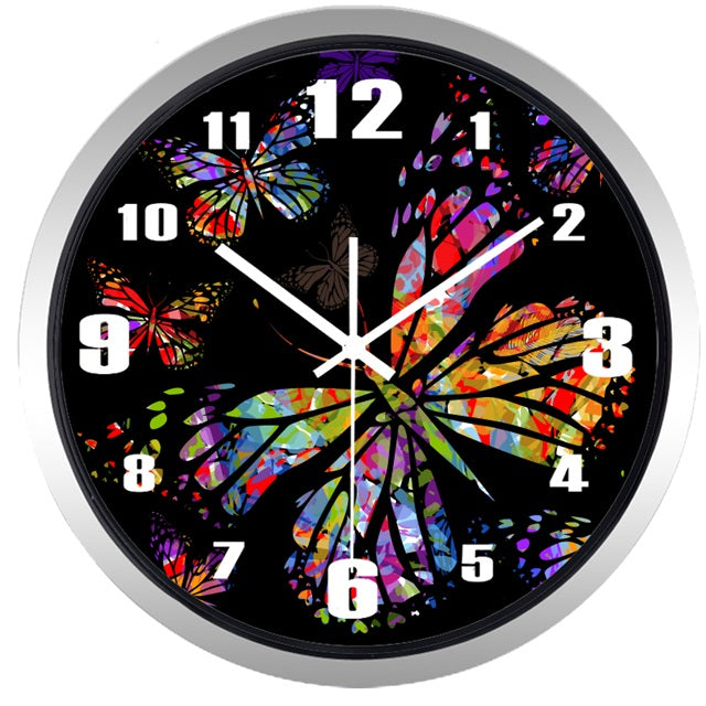 Colorful Butterfly High Definition Print Silver Frame Quartz Wall Clock