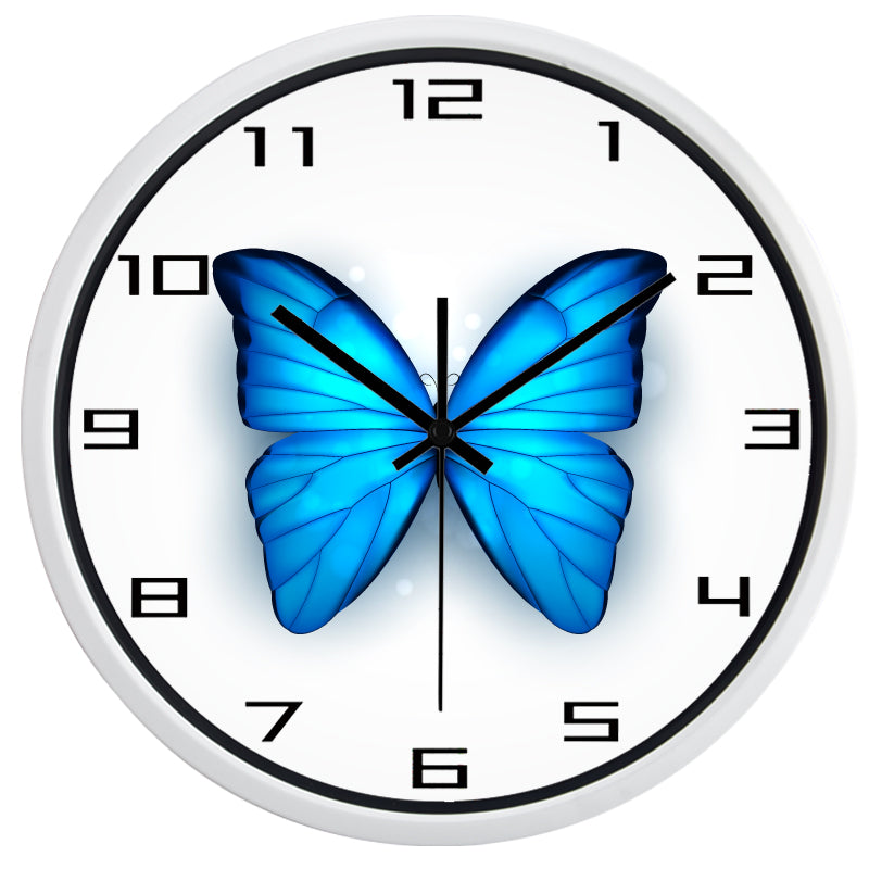 Beautiful Blue Butterfly High Definition Print White Frame Quartz Wall Clock