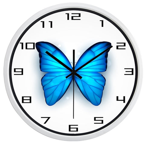 Image of Beautiful Blue Butterfly High Definition Print White Frame Quartz Wall Clock