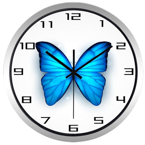 Image of Beautiful Blue Butterfly High Definition Print Silver Frame Quartz Wall Clock