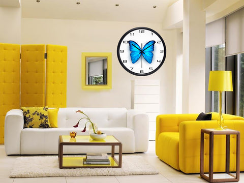 Image of Beautiful Blue Butterfly High Definition Print Black Frame Quartz Wall Clock