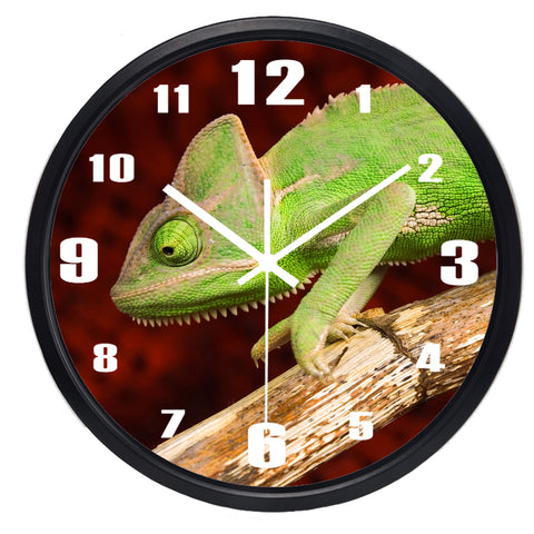 Image of Lifelike Chameleon High Definition Print Black Frame Quartz Wall Clock