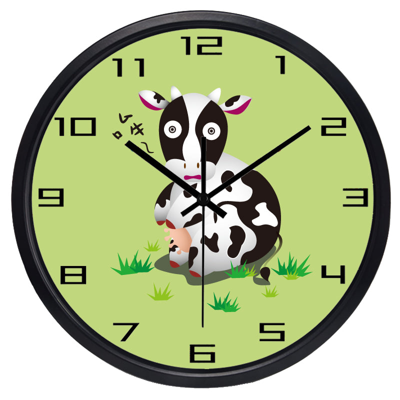 Cartoon Cow High Definition Print Black Frame Quartz Wall Clock