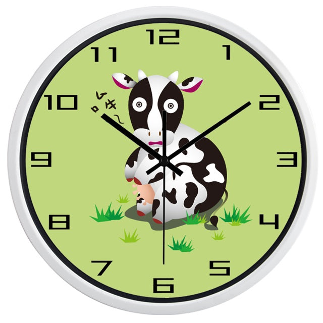 Cartoon Cow High Definition Print White Frame Quartz Wall Clock