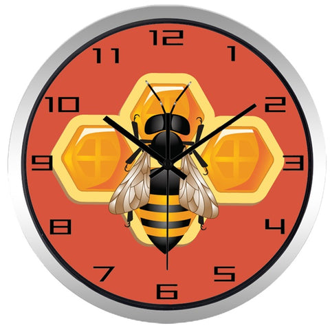 Image of Bumble Bee High Definition Print Silver Frame Quartz Wall Clock