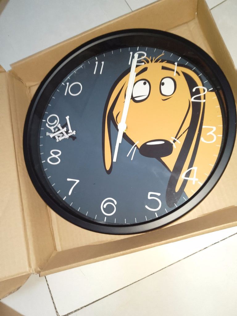 Peep Dog High Definition Print Black Frame Quartz Wall Clock