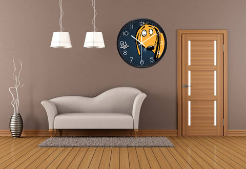 Image of Peep Dog High Definition Print Black Frame Quartz Wall Clock