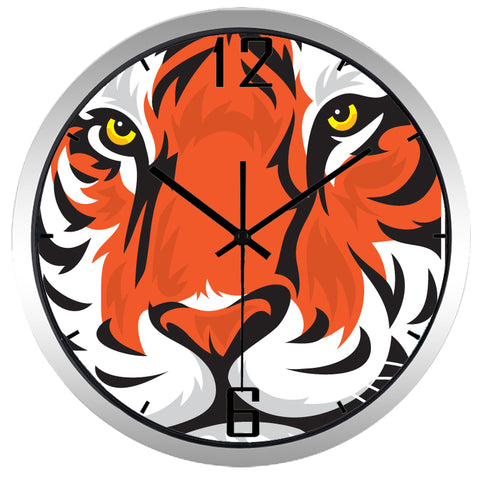 Image of Tiger Face High Definition Print Silver Frame Quartz Wall Clock