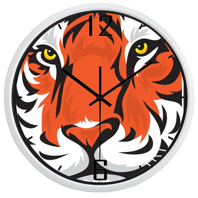Tiger Face High Definition Print White Frame Quartz Wall Clock