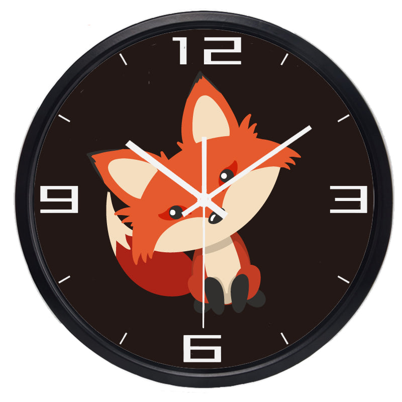 Cute Fox High Definition Print Black Frame Quartz Wall Clock