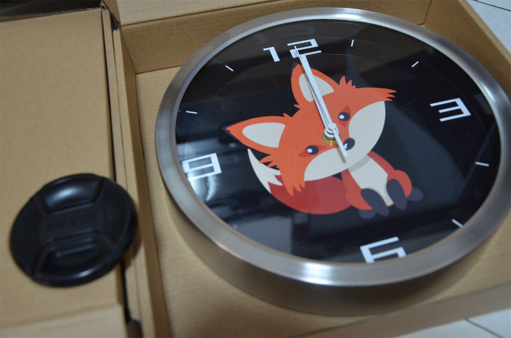 Cute Fox High Definition Print Silver Frame Quartz Wall Clock