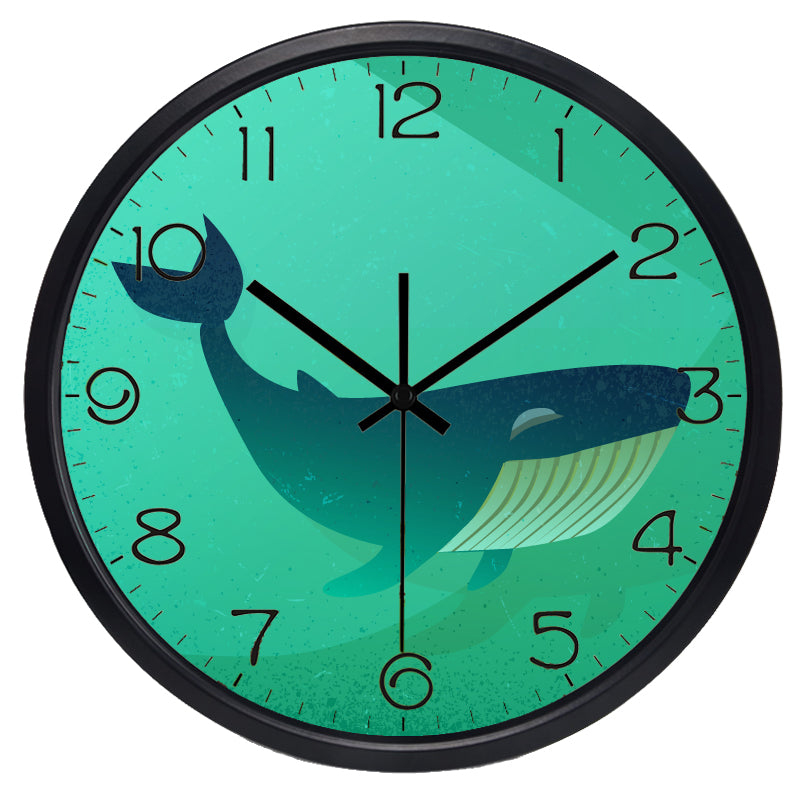 Whale High Definition Print Black Frame Quartz Wall Clock