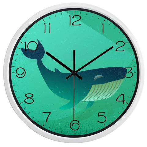 Image of Whale High Definition Print White Frame Quartz Wall Clock