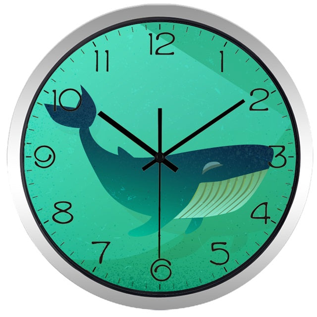 Whale High Definition Print Silver Frame Quartz Wall Clock