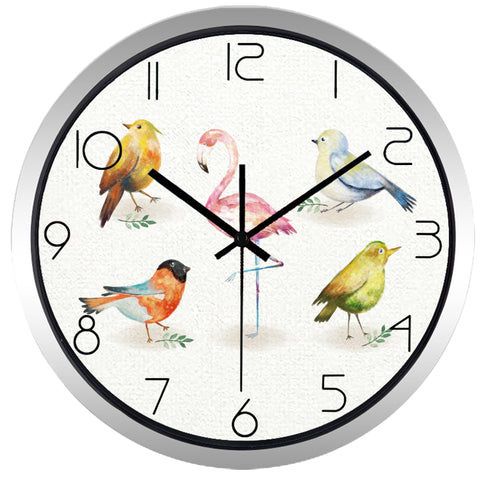 North America Bird High Definition Print Silver Frame Quartz Wall Clock