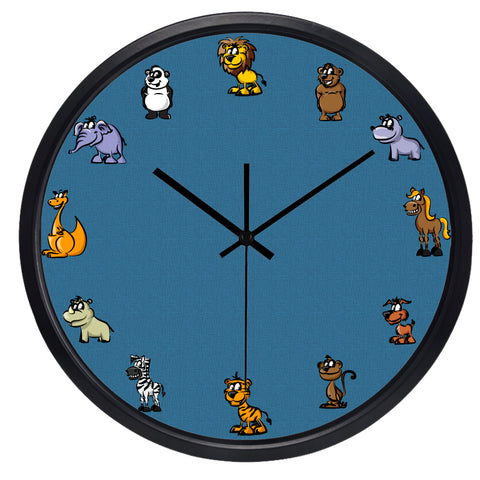 Zoo Animals High Definition Print Black Frame Quartz Wall Clock
