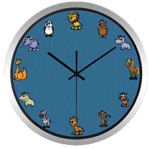 Zoo Animals High Definition Print Silver Frame Quartz Wall Clock