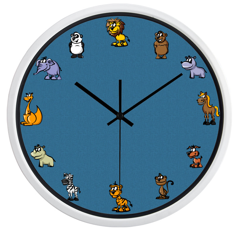 Zoo Animals High Definition Print White Frame Quartz Wall Clock