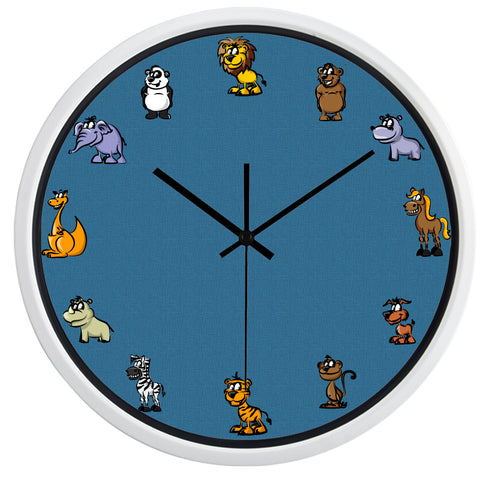 Image of Zoo Animals High Definition Print White Frame Quartz Wall Clock