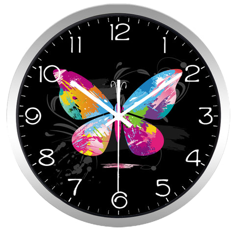 Image of Graffiti Butterfly High Definition Print Silver Frame Quartz Wall Clock