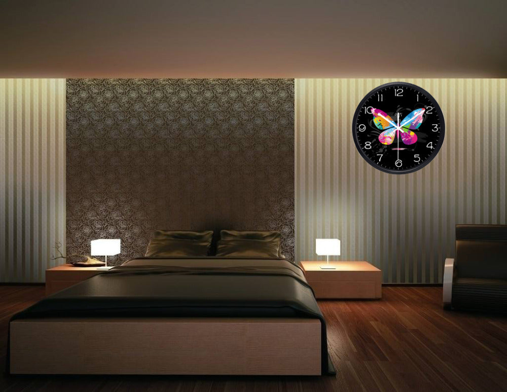 Graffiti Butterfly High Definition Print Black Frame Quartz Wall Clock