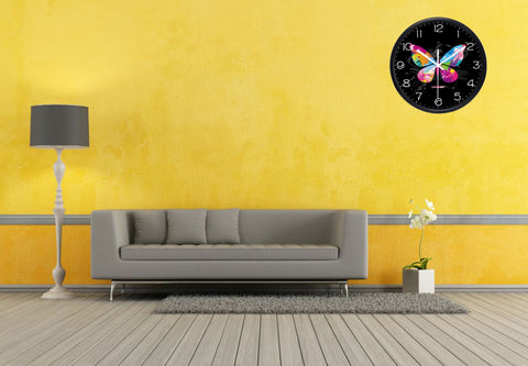 Image of Graffiti Butterfly High Definition Print Black Frame Quartz Wall Clock