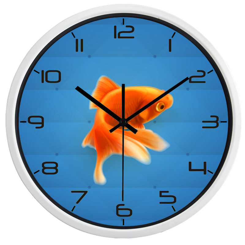 Cute Goldfish High Definition Print White Frame Quartz Wall Clock