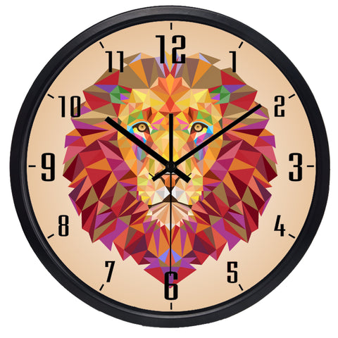 Symphony Lion High Definition Print Black Frame Quartz Wall Clock